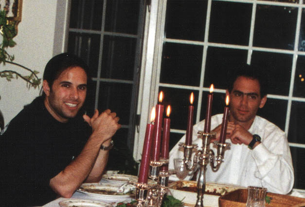 Leap partner Henri Asseily and Farhad Mohit eating dinner in Farhad's parents' dining room while starting Bizrate.com in 1996. Their office was the greenhouse just outside.